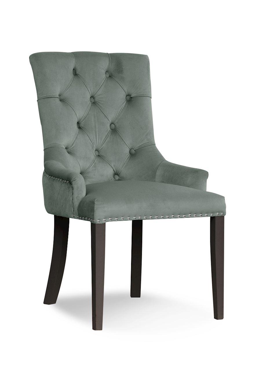 Scaun tapitat cu stofa, cu picioare din lemn August Grey / Black, l59xA70xH96 cm