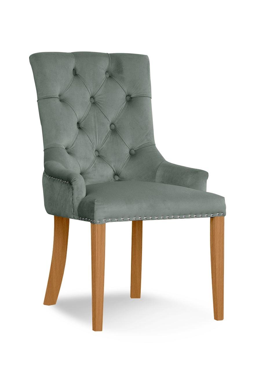 Scaun tapitat cu stofa, cu picioare din lemn August Grey / Oak, l59xA70xH96 cm