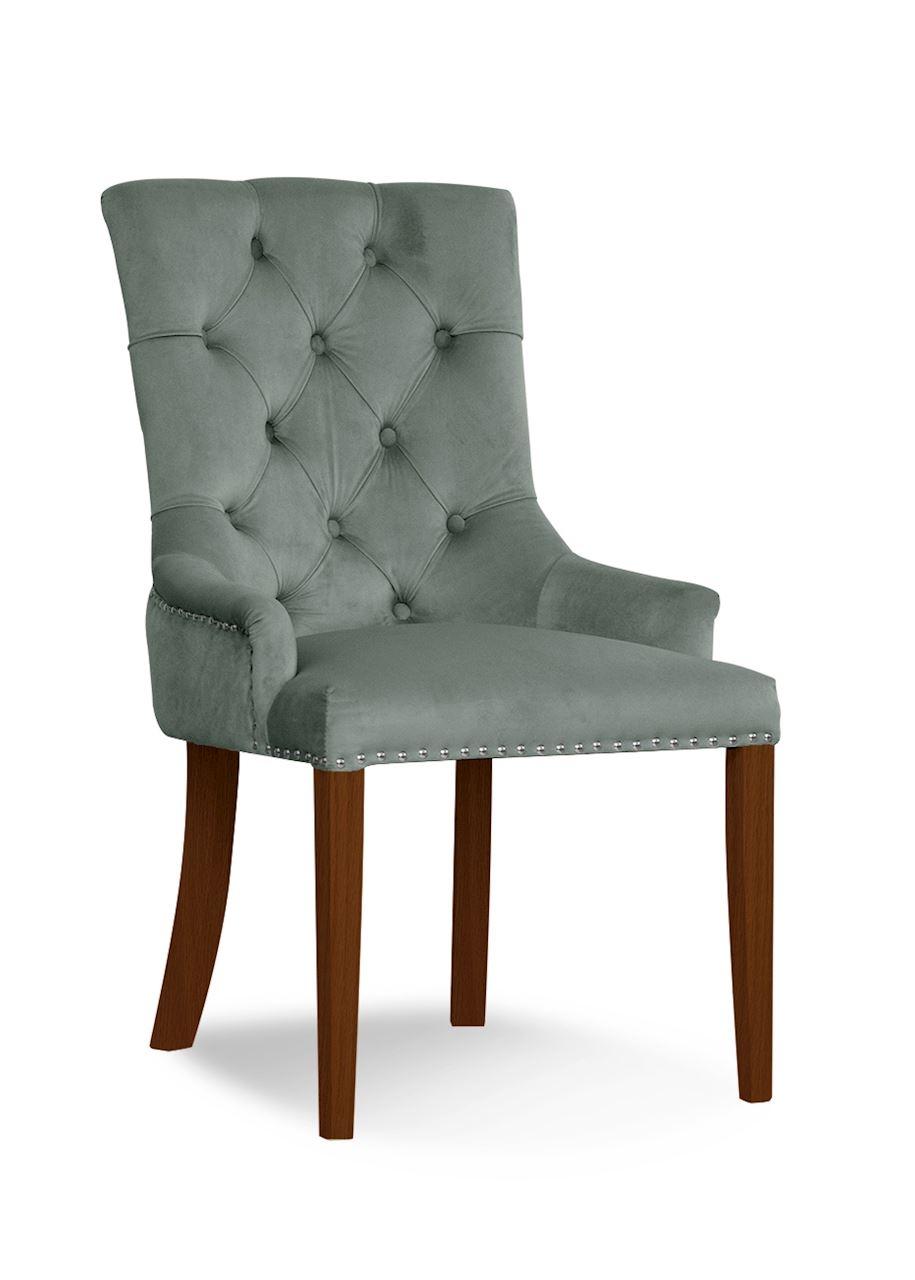 Scaun tapitat cu stofa, cu picioare din lemn August Grey / Walnut, l59xA70xH96 cm