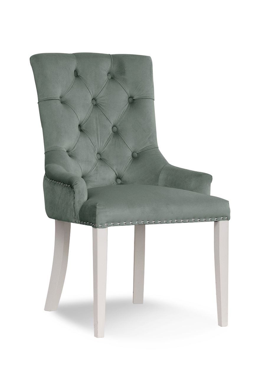 Scaun tapitat cu stofa, cu picioare din lemn August Grey / White, l59xA70xH96 cm
