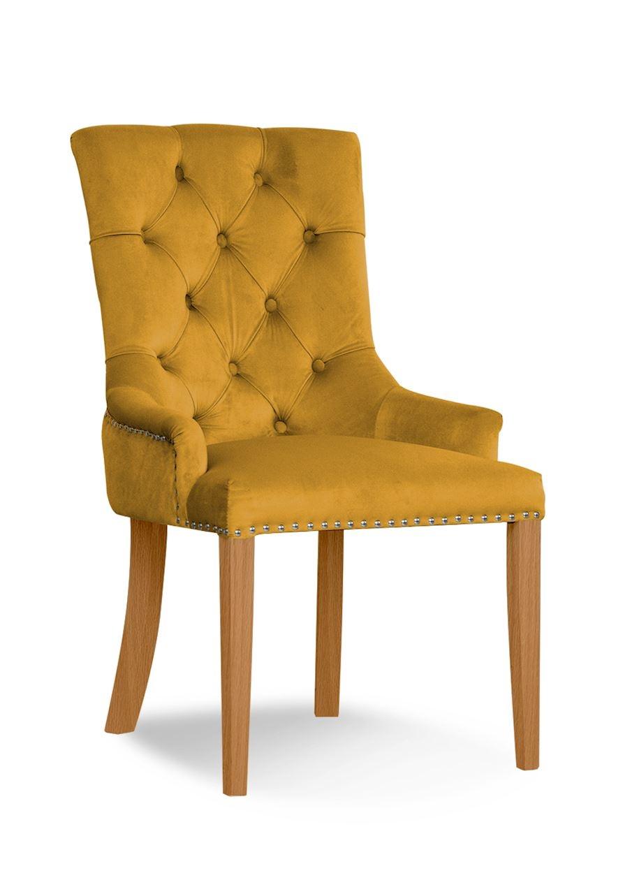 Scaun tapitat cu stofa si picioare din lemn August Velvet Mustariu / Stejar, l59xA70xH96 cm