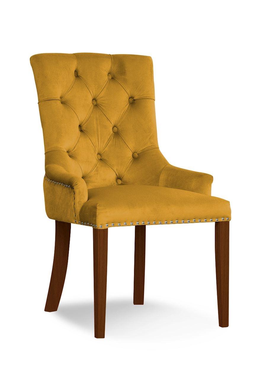 Scaun tapitat cu stofa, cu picioare din lemn August Honey / Walnut, l59xA70xH96 cm