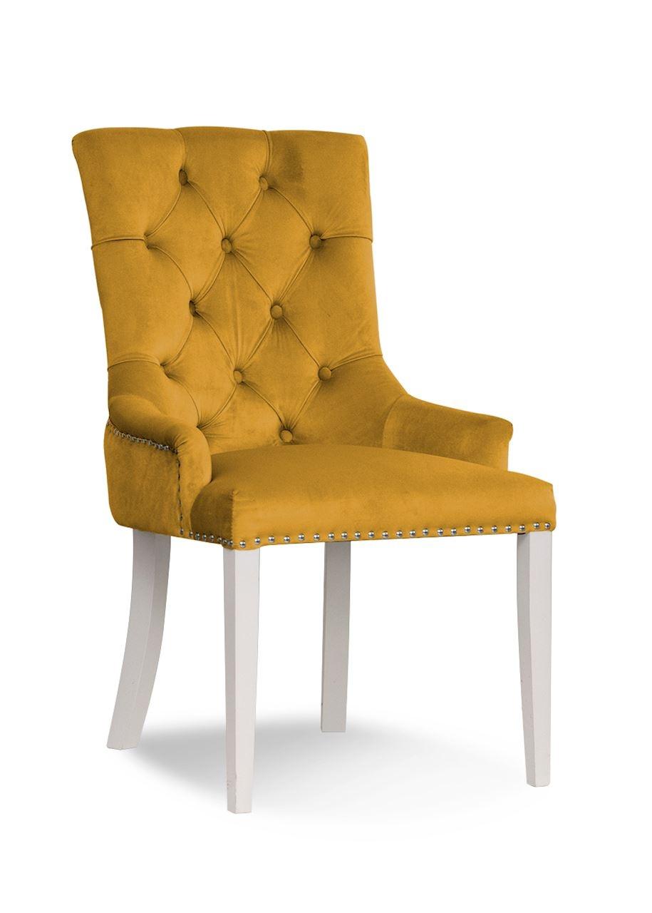 Scaun tapitat cu stofa, cu picioare din lemn August Honey / White, l59xA70xH96 cm