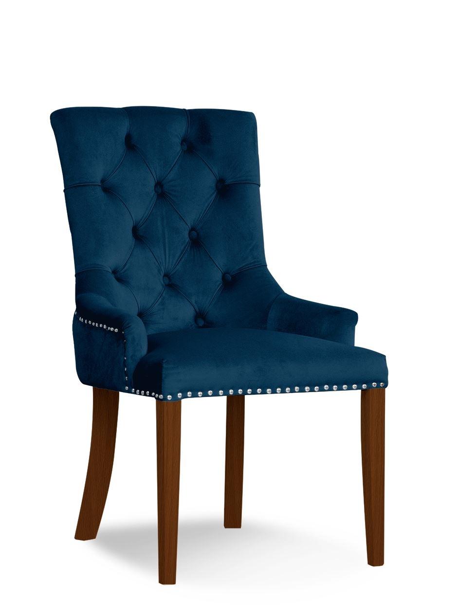 Scaun tapitat cu stofa si picioare din lemn August Velvet Bleumarin / Nuc, l59xA70xH96 cm somproduct.ro