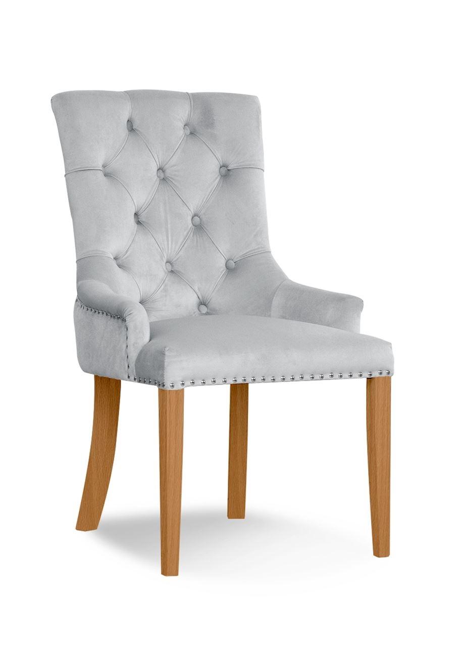 Scaun tapitat cu stofa, cu picioare din lemn August Silver / Oak, l59xA70xH96 cm