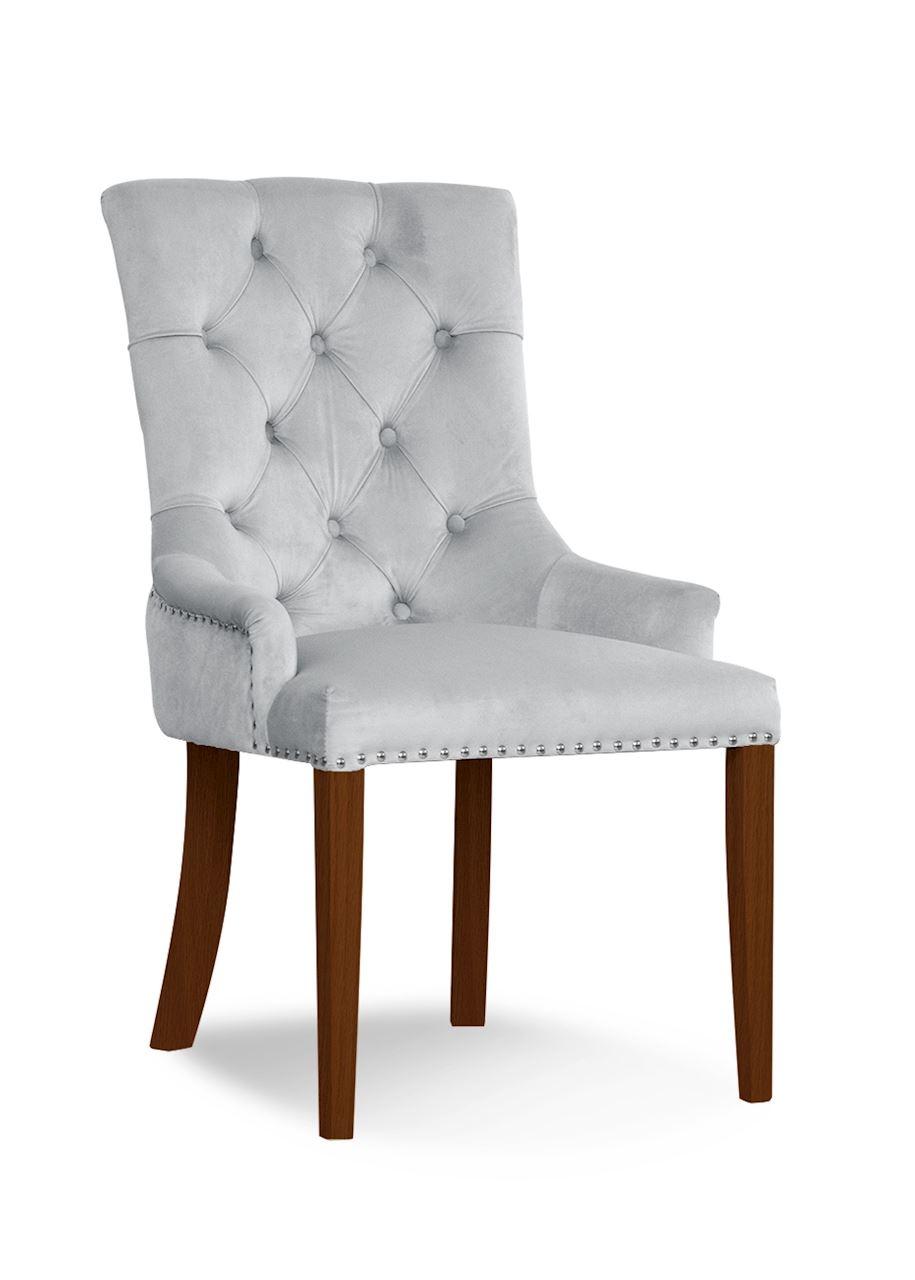 Scaun tapitat cu stofa, cu picioare din lemn August Silver / Walnut, l59xA70xH96 cm
