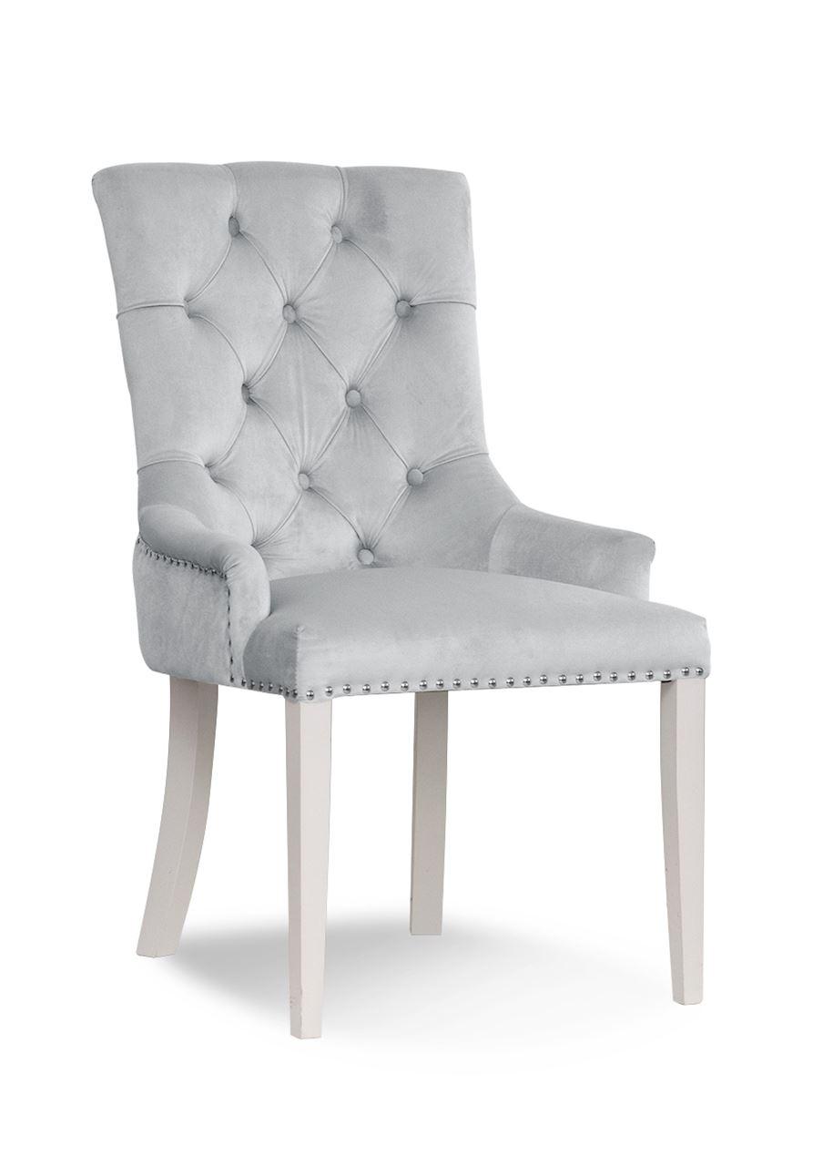Scaun tapitat cu stofa, cu picioare din lemn August Silver / White, l59xA70xH96 cm