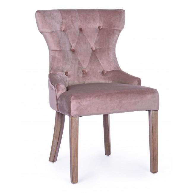 Scaun tapitat cu stofa, cu picioare din lemn Azelia Roz, l55xA52xH92 cm