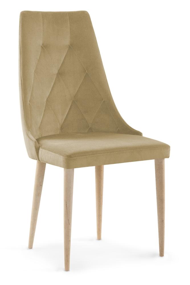 Scaun tapitat cu stofa cu picioare din lemn Caren II Beige / Beech l52xA55xH99 cm