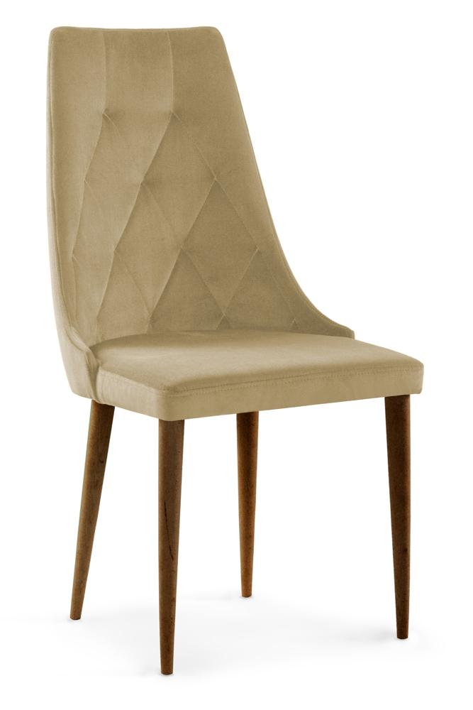 Scaun tapitat cu stofa cu picioare din lemn Caren II Beige / Walnut l52xA55xH99 cm
