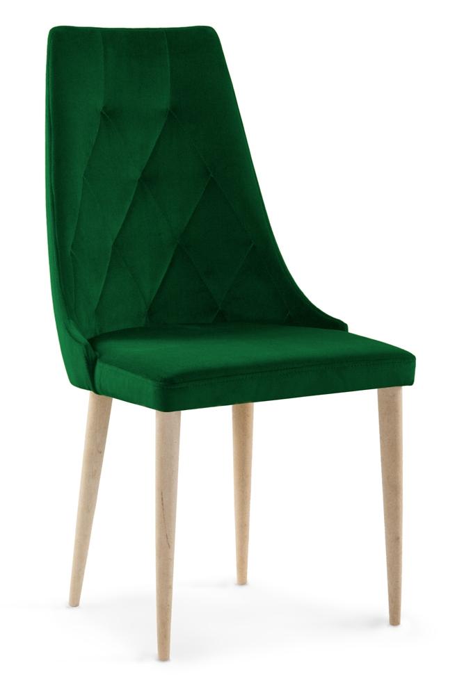 Scaun tapitat cu stofa cu picioare din lemn Caren II Bottle Green / Beech l52xA55xH99 cm