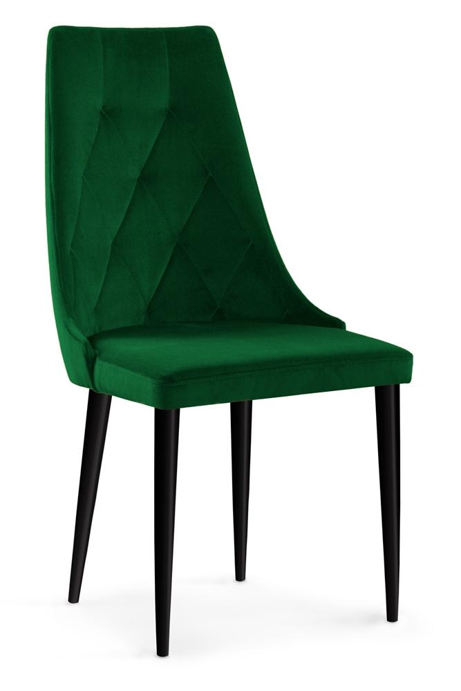Scaun tapitat cu stofa cu picioare din lemn Caren II Bottle Green / Black l52xA55xH99 cm