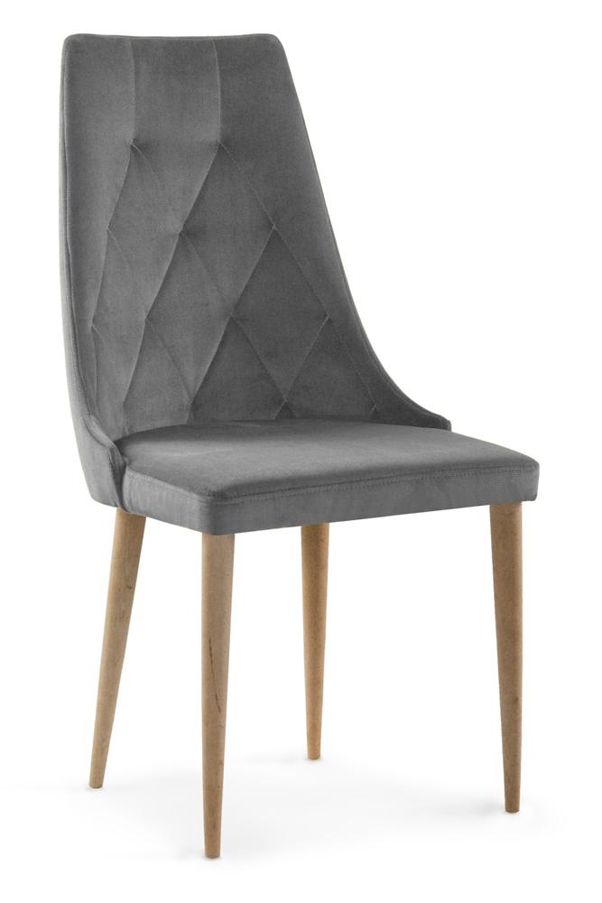 Scaun tapitat cu stofa cu picioare din lemn Caren II Grey / Oak l52xA55xH99 cm