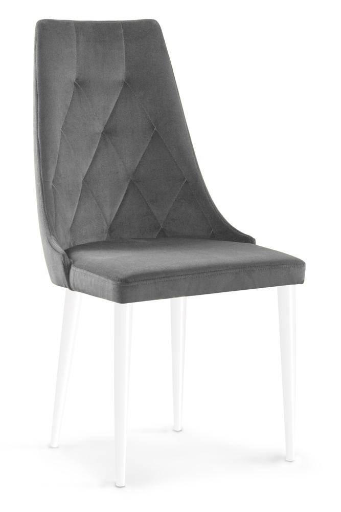 Scaun tapitat cu stofa cu picioare din lemn Caren II Grey / White l52xA55xH99 cm