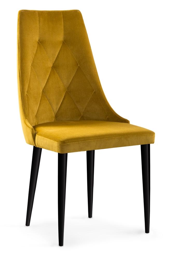 Scaun tapitat cu stofa cu picioare din lemn Caren II Honey / Black l52xA55xH99 cm