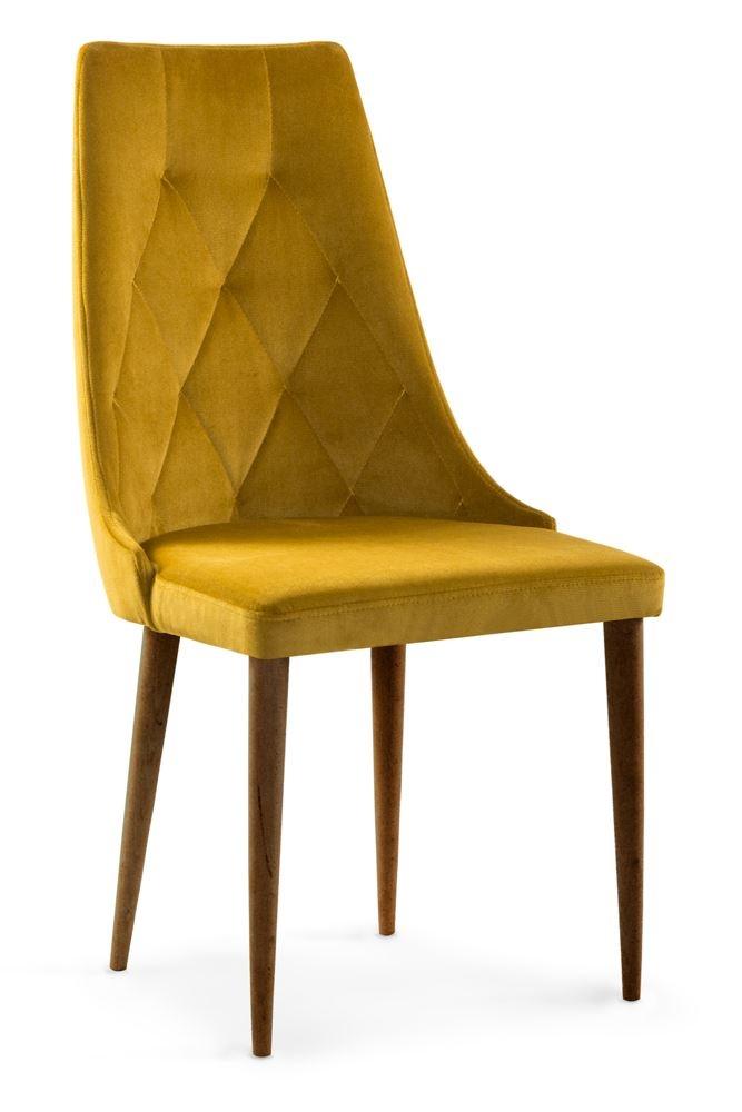 Scaun tapitat cu stofa cu picioare din lemn Caren II Honey / Walnut l52xA55xH99 cm