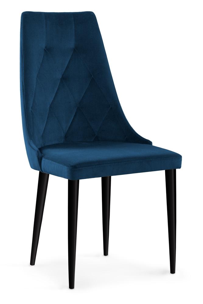 Scaun tapitat cu stofa cu picioare din lemn Caren II Navy Blue / Black l52xA55xH99 cm