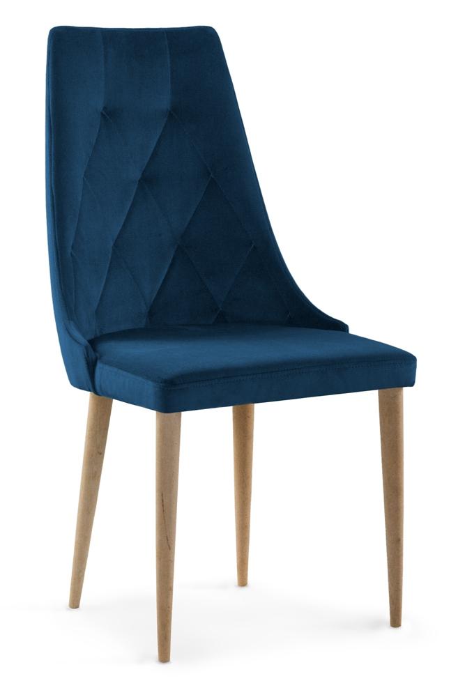 Scaun tapitat cu stofa cu picioare din lemn Caren II Navy Blue / Oak l52xA55xH99 cm