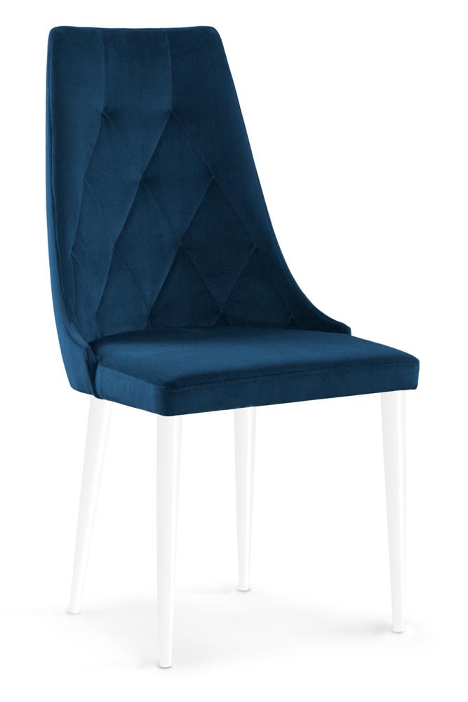 Scaun tapitat cu stofa cu picioare din lemn Caren II Navy Blue / White l52xA55xH99 cm
