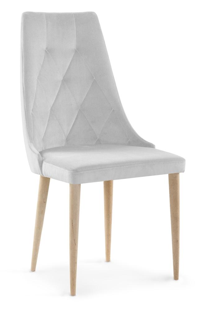 Scaun tapitat cu stofa cu picioare din lemn Caren II Silver / Beech l52xA55xH99 cm