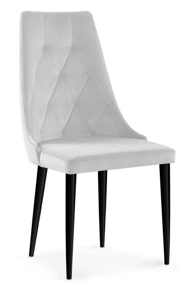 Scaun tapitat cu stofa cu picioare din lemn Caren II Silver / Black l52xA55xH99 cm