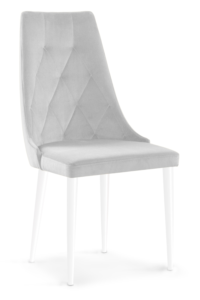 Scaun tapitat cu stofa cu picioare din lemn Caren II Silver / White l52xA55xH99 cm