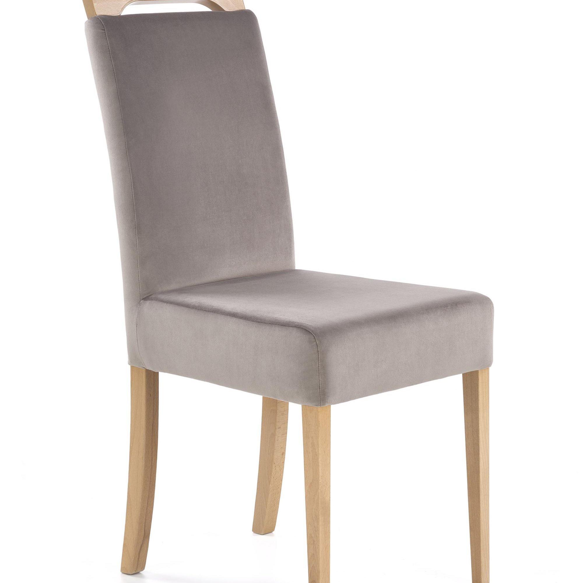Scaun tapitat cu stofa, cu picioare din lemn Clarion Gri / Stejar, l42xA58xH97 cm poza