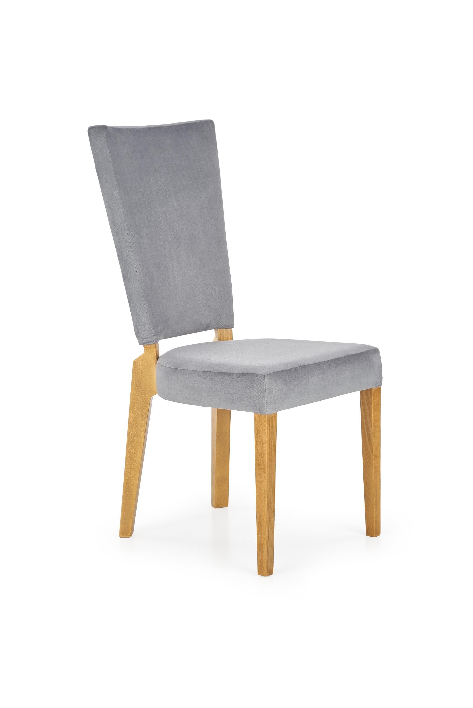 Scaun tapitat cu stofa, cu picioare din lemn de fag Rois Honey Oak / Grey, l43xA58xH94 cm