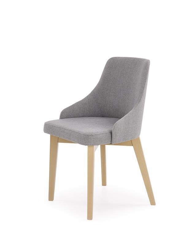Scaun tapitat cu stofa, cu picioare din lemn de fag Toledo Grey / Sonoma Oak, l51xA55xH82 cm imagine