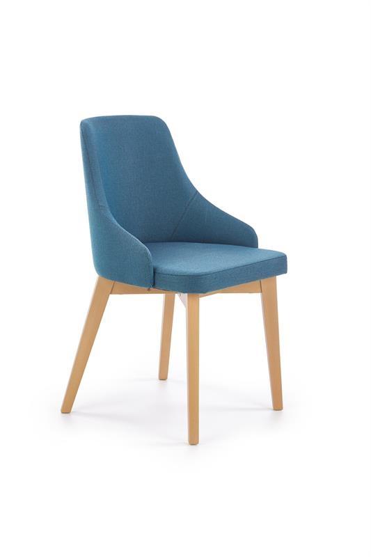 Scaun tapitat cu stofa, cu picioare din lemn de fag Toledo Turquoise / Honey Oak, l51xA55xH82 cm