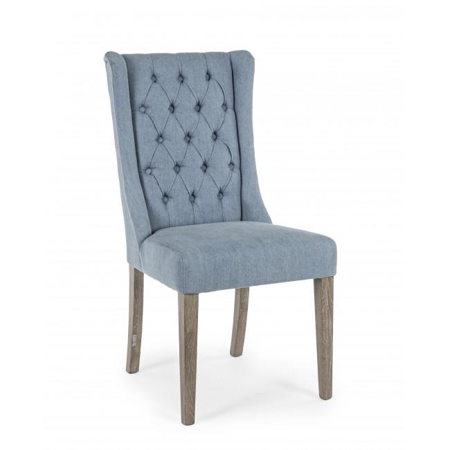 Scaun tapitat cu stofa, cu picioare din lemn de stejar Columbia Denim, l51xA63xH104 cm