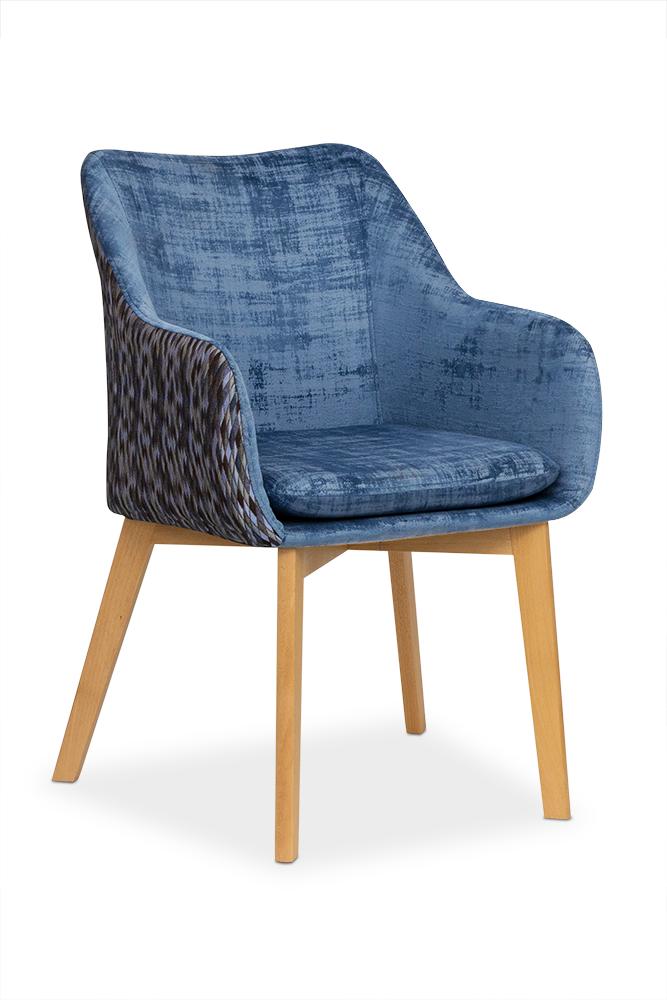 Scaun tapitat cu stofa, cu picioare din lemn Diamente Navy Blue / Beech, l56xA62xH84 cm