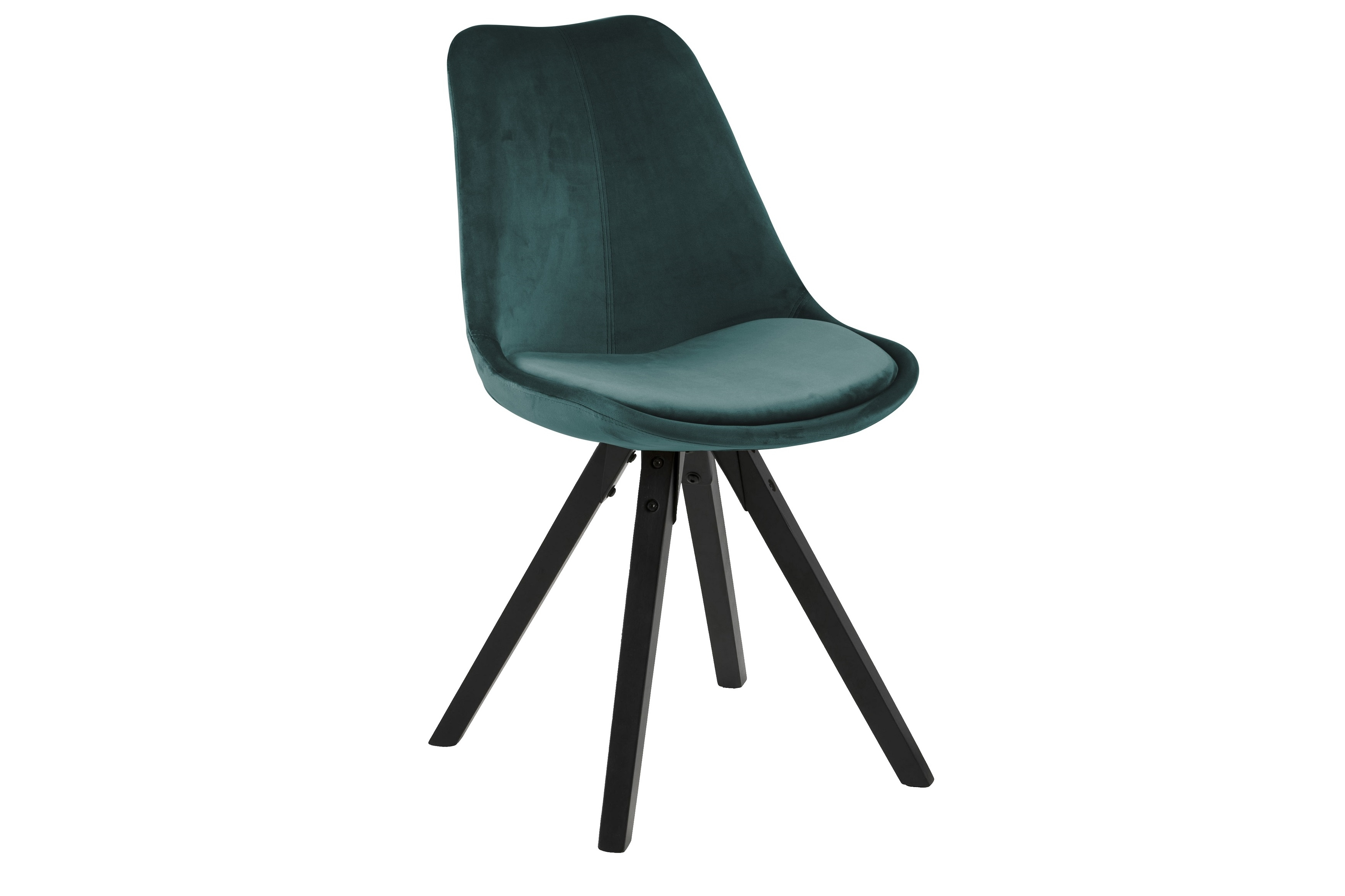 Scaun tapitat cu stofa si picioare din lemn Dima Velvet Verde Inchis / Negru, l48,5xA55xH85 cm