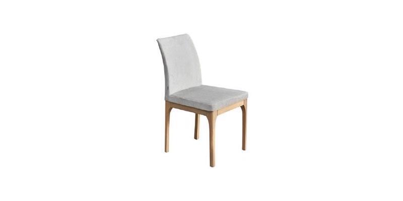 Scaun tapitat cu stofa, cu picioare din lemn Enjoy Gri deschis, l47xA43xH88 cm