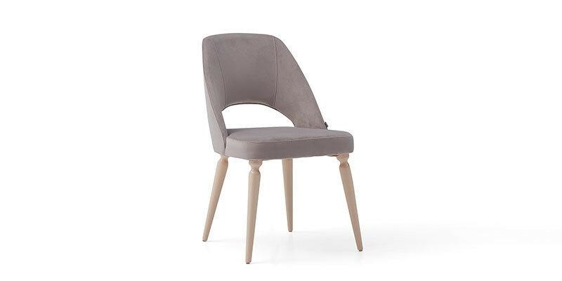 Scaun tapitat cu stofa, cu picioare din lemn Floria Gri deschis / Alb, l52xA62xH84 cm imagine