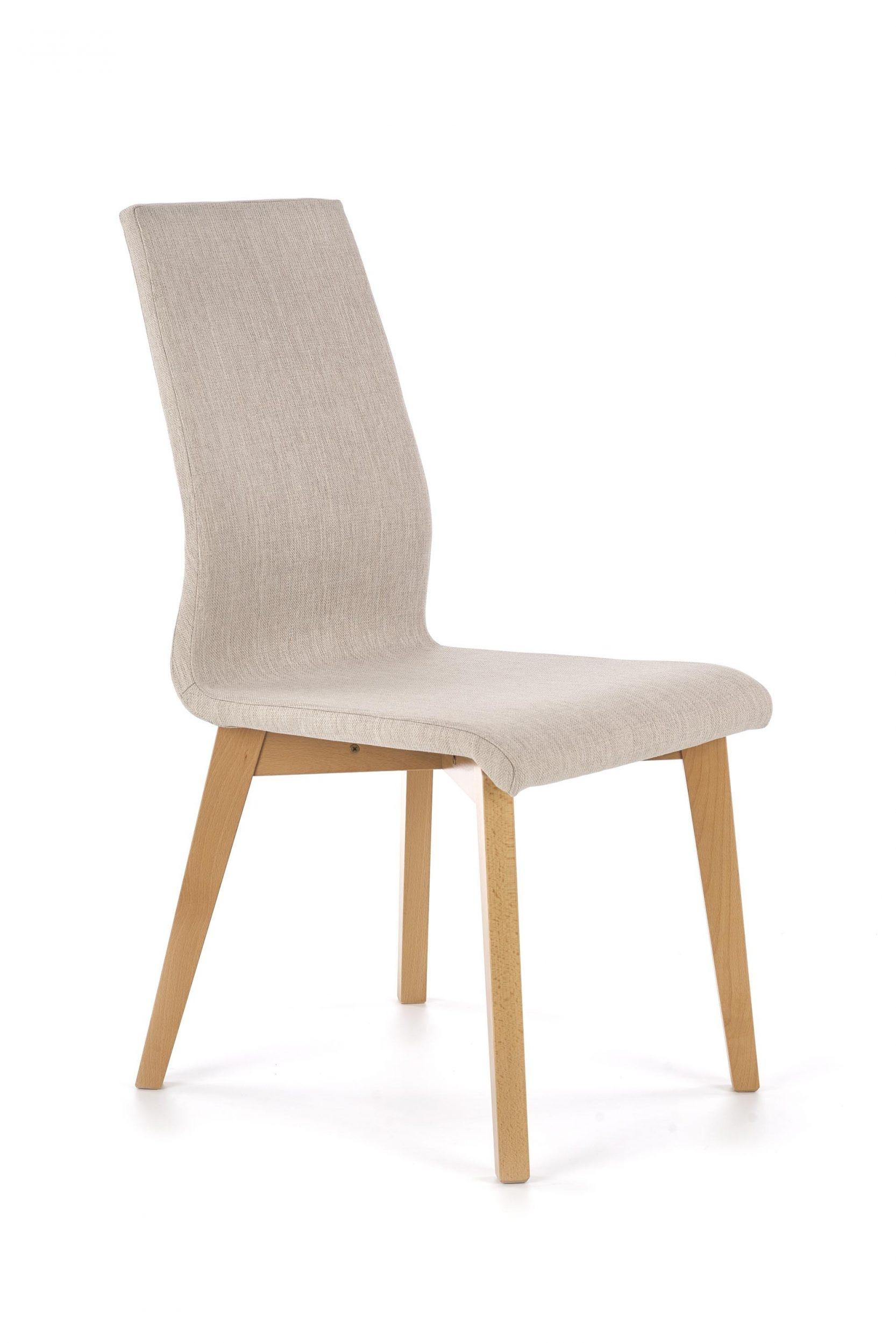 Scaun tapitat cu stofa, cu picioare din lemn Focus Bej / Stejar, l45xA61xH94 cm
