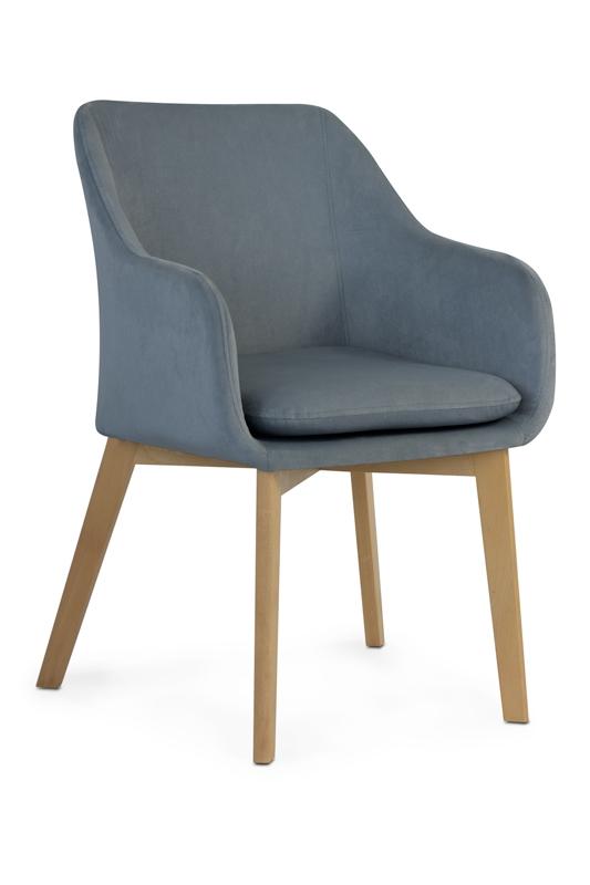 Scaun tapitat cu stofa, cu picioare din lemn Huan Grey / Beech, l56xA62xH84 cm