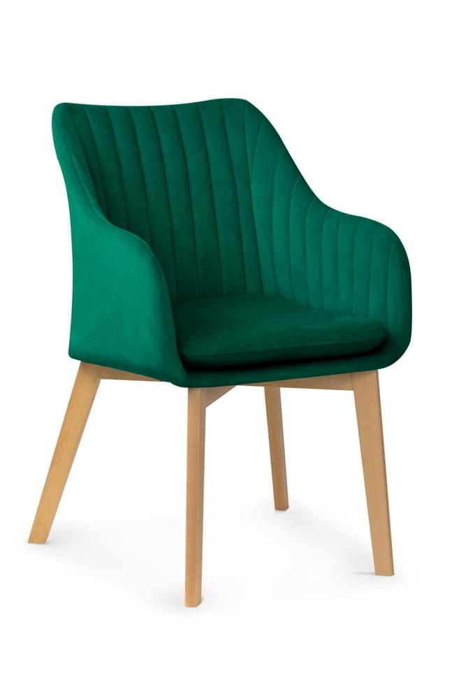 Scaun tapitat cu stofa, cu picioare din lemn Huan II Bottle Green / Beech, l56xA62xH84 cm