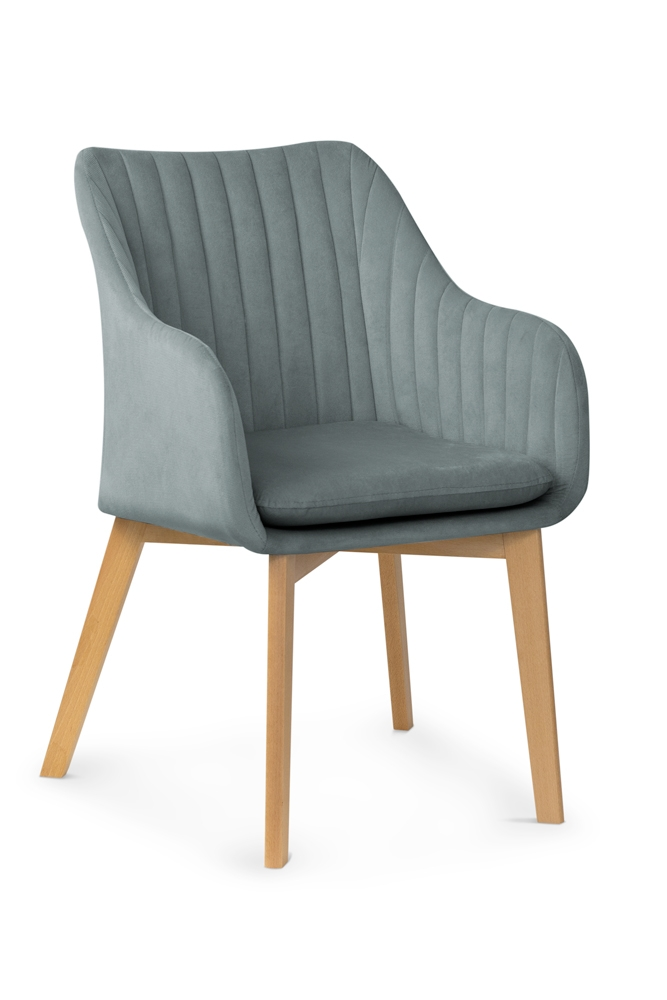 Scaun tapitat cu stofa, cu picioare din lemn Huan II Grey / Beech, l56xA62xH84 cm