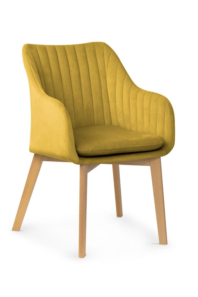 Scaun tapitat cu stofa, cu picioare din lemn Huan II Honey / Beech, l56xA62xH84 cm