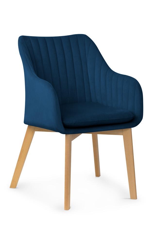 Scaun tapitat cu stofa, cu picioare din lemn Huan II Navy Blue / Beech, l56xA62xH84 cm