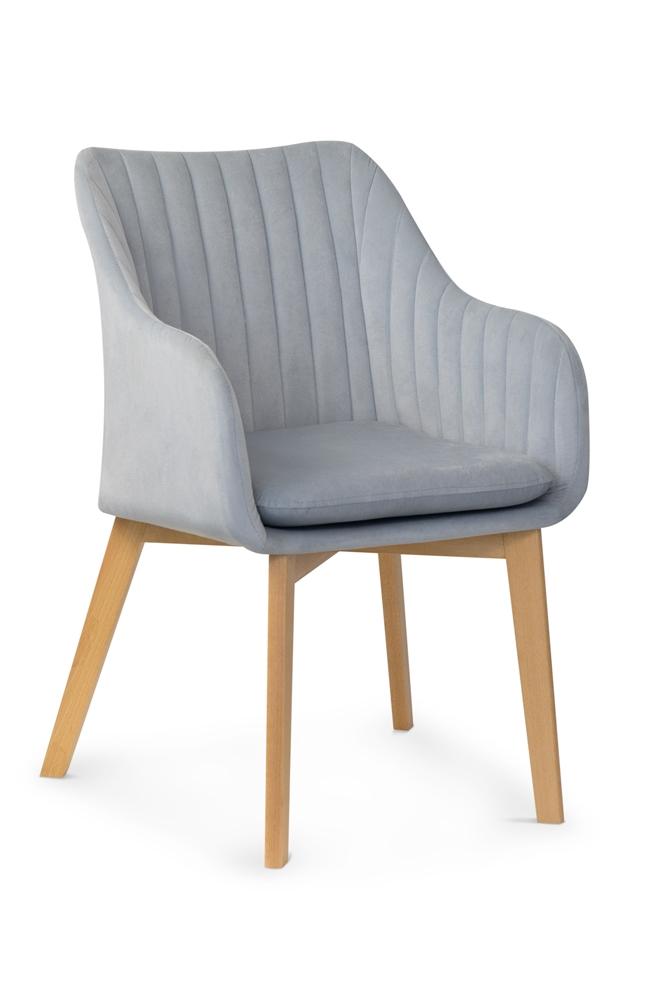 Scaun tapitat cu stofa, cu picioare din lemn Huan II Silver / Beech, l56xA62xH84 cm