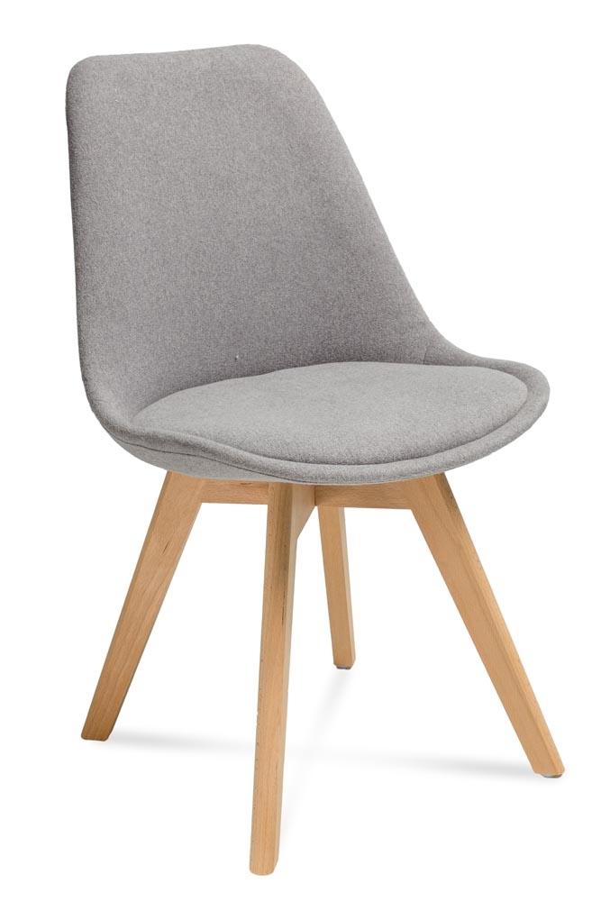 Scaun tapitat cu stofa, cu picioare din lemn Hugo Grey / Beech, l48xA52xH83 cm