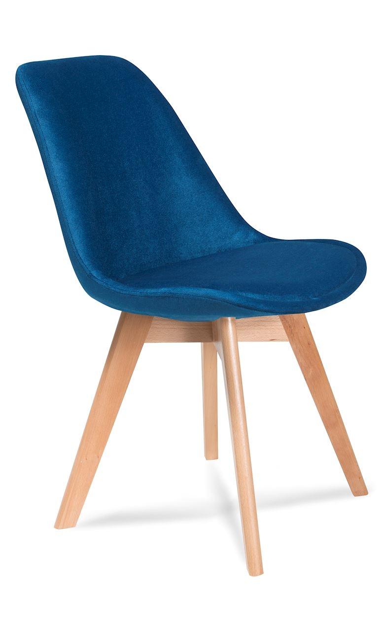 Scaun tapitat cu stofa, cu picioare din lemn Hugo Navy Blue / Beech, l48xA52xH83 cm