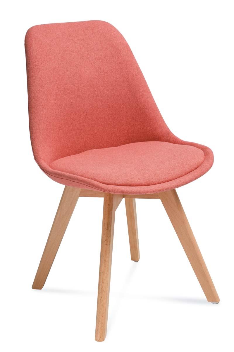 Scaun tapitat cu stofa, cu picioare din lemn Hugo Salmon / Beech, l48xA52xH83 cm