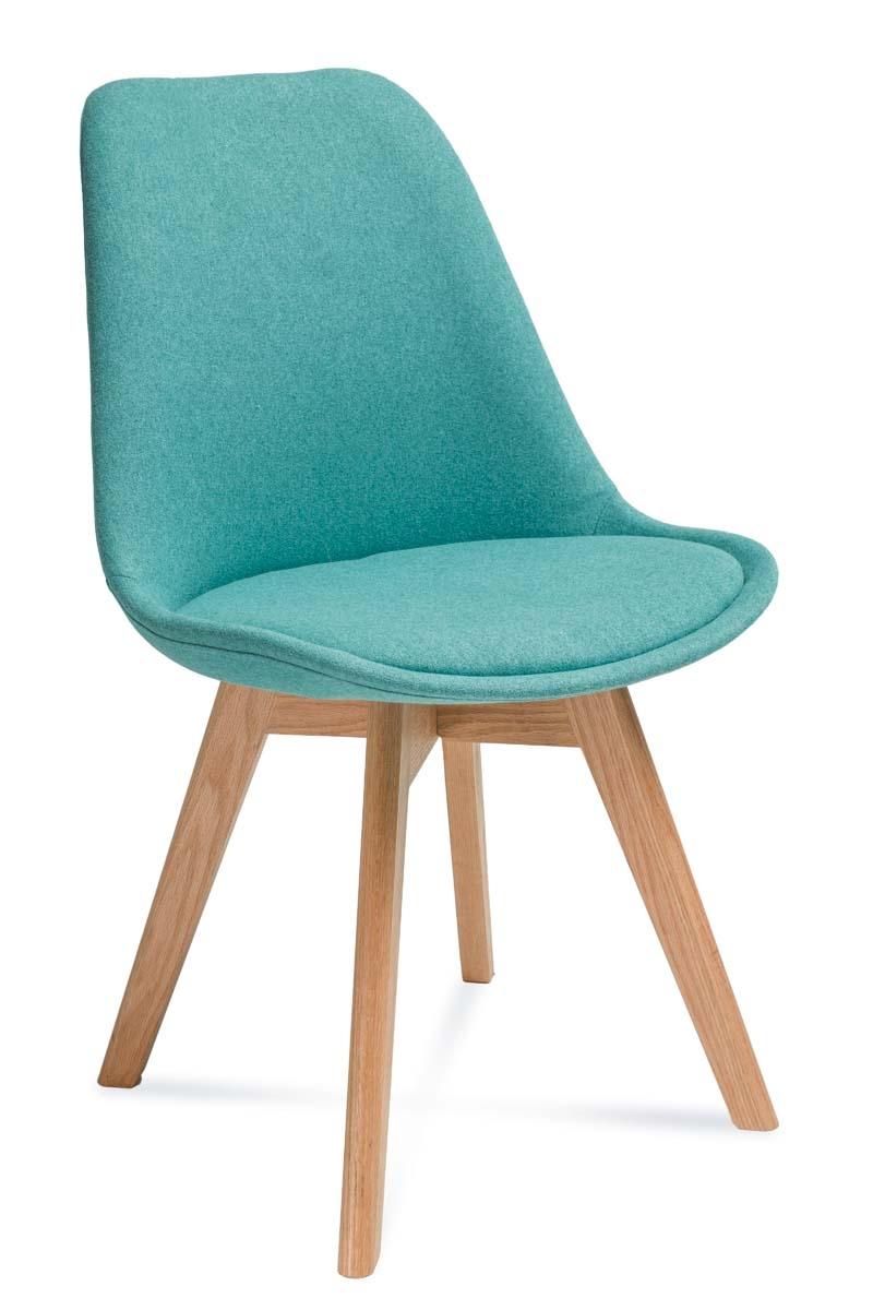 Scaun tapitat cu stofa, cu picioare din lemn Hugo Turquoise / Beech, l48xA52xH83 cm