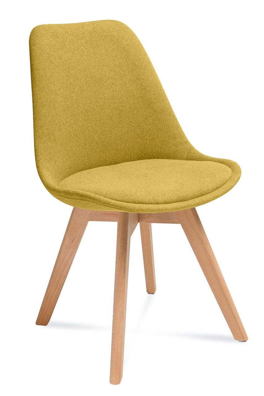 Scaun tapitat cu stofa, cu picioare din lemn Hugo Yellow / Beech, l48xA52xH83 cm