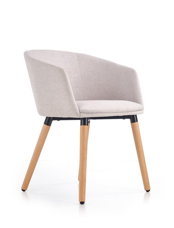 Scaun tapitat cu stofa, cu picioare din lemn K266 Beige, l56xA56xH72 cm