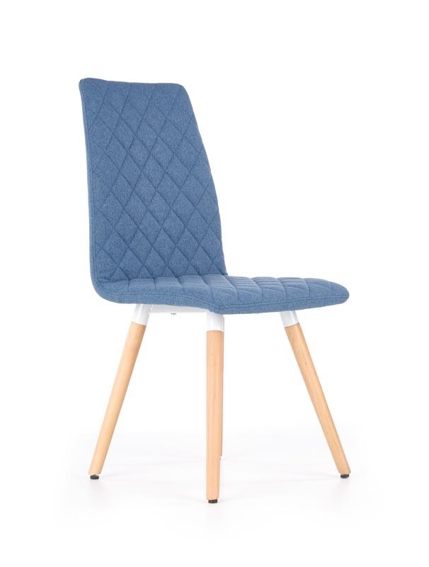 Scaun tapitat cu stofa, cu picioare din lemn K282 Blue, l56xA44xH93 cm