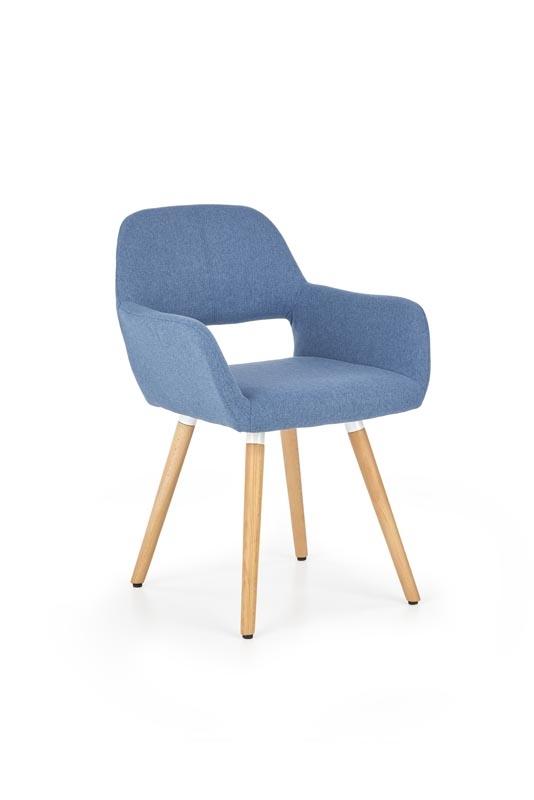 Scaun tapitat cu stofa, cu picioare din lemn K283 Blue, l56xA56xH80 cm imagine